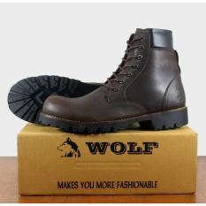 Beli Sepatu Kulit Asli Boots Pria Wolf Labrador Safety Coklat