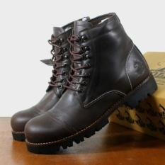 Sepatu Kulit Asli Boots Safety Pria - WOLF PITBUL - Brown