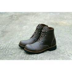 Harga Sepatu Kulit Asli Boots Safety Pria Wolf Pitbul Leather Full Up Brown Wolf Ori