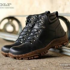 Toko Sepatu Kulit Asli Boots Safety Tracking Pria Wolf Barbet Black Online Jawa Barat