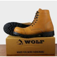 Cuci Gudang Sepatu Kulit Asli Boots Safty Pria Wolf Pitbul Safty Tan