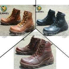 Sepatu Kulit Boots Pria Work Safety Temali Camel / Sepatu Pria Work Safety Keren Murah