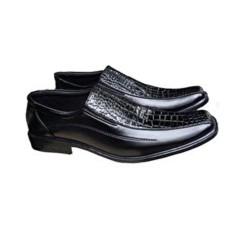 Sepatu Kulit Pria Pantofel Formal Kerja Kantor Kombinasi Kulit Buaya - Hitam