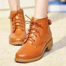 Sepatu Kulit Wanita Sepatu Bot Bulu Panas Musim Yang Hangat Sepatu Pergelangan Kesemek Sepatu Kaset Rendah Tumit Kulit Wanita Boots Hangat Bulu Musim Dingin Boots Ankle Boots Rendah Tumit Kasual Sepatu