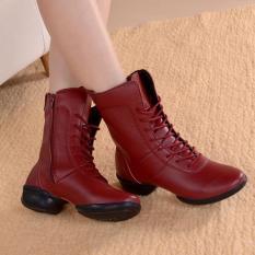 Sepatu Kulit Wanita Sepatu Tari Top Atas Sepatu Musim Dingin Bulu Hangat Sepatu Tengah Yang Nyaman Kulit Wanita Boots Tinggi TOP Dance Sepatu