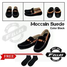 Sepatu Loafer Pria Simple Suede Black Best Seller