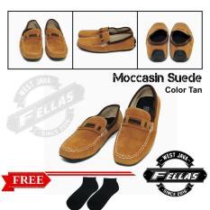 Sepatu Loafer Pria Simple Suede Tan Best Seller
