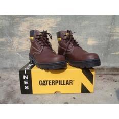 Sepatu Murah Boots Safety Caterpillar Warna Coklat Tua Licin