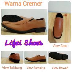Sepatu Pantofel Formal Kerja Casual Pria Cowok Cowo Laki Big Size Ukuran Super Besar Jumbo 43 44 45 Coklat Cremer Cream Krem