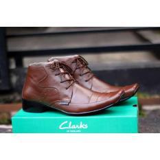 Sepatu Pantofel Pria Clarks Tali Kulit Asli Formal Kerja Kantoran Casual - Free Kaos Kaki