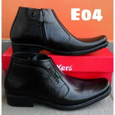 kickers - sepatu pantofel pria kulit kickers hitam resleting kantoran E04