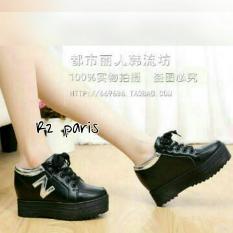 Sepatu Platform Sneakers Hak 4cm Kulit Sintetis Hitam - Nord R2