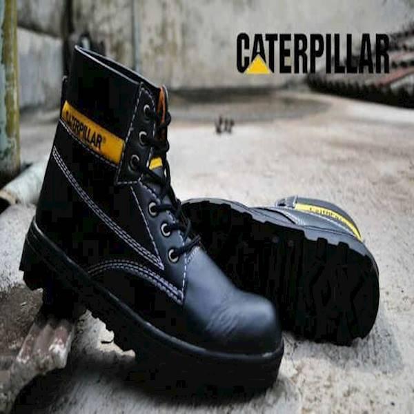 Sepatu Pria Boots TERMURAH Sepatu Caterpillar Licin Safety Boots Black Murah Harga Grosir Original Brand Custom