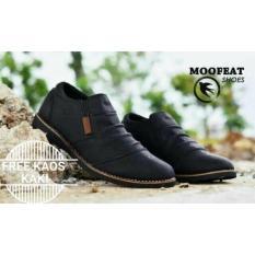 Sepatu Pria Casual Santai Kerja Loafers Moofeat Wrinkle Original Hitam Indonesia Diskon 50