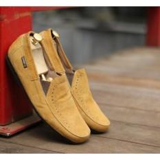 SEPATU PRIA CASUAL SLIP ON DEMBELE SLOP kulit suede Tan ukuran 38 39 40 41 42 43 44