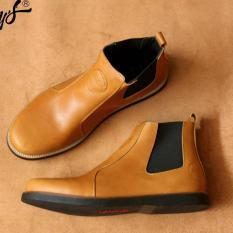 Sepatu Pria Chelsea Boots Original Kulit Asli Pull Up Modern - BRADLEY'S ELAGOS - Hitam / Coklat / Tan