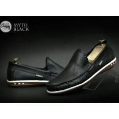 Promo Sepatu Pria Formal Kantor Kerja Casual Slop Slip On Kulit Asli Pull Up Cevany Myith Hitam Coklat Putih Akhir Tahun