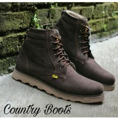Sepatu Pria Kulit Asli Boots Outdor - COUNTRY BOOTS GUNDUL SOL DTR - Hitam - Coklat - Kuning