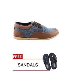 Sepatu Pria Santai Redknot Counting Blue Denim Tan Brown Murah
