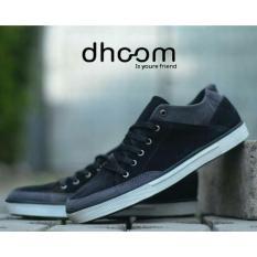 Sepatu Pria Sneakers Low High Casual Remaja dan Dewasa - DHOOM EVOZ 01 - Hitam / Abu-abu / Biru Dongker