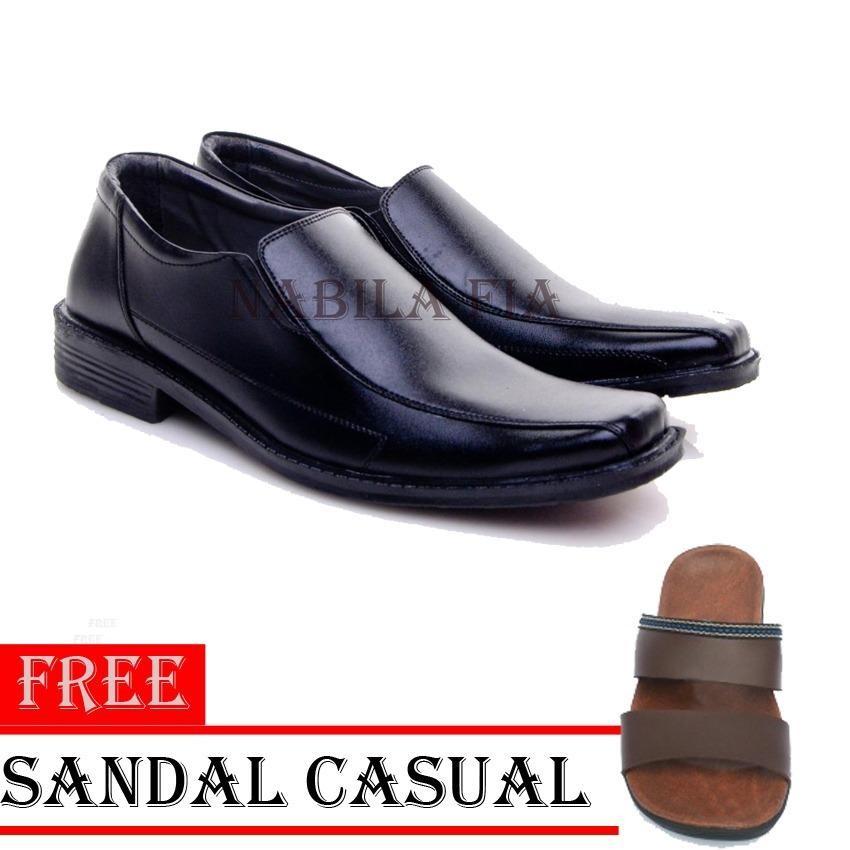 Sepatu Pria   Wanita Untuk Kerja Kantor Kulit Sintetis 270899 - Black Free  Sandal Casual 089c3bdb93