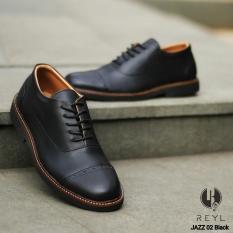 Harga Sepatu Reyl Jazz Black Kerja Formal Santai Kuliah Fullset Murah