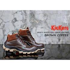 Sepatu Safety Boots Pria Kickers Sol Karet Bams Untuk Kerja Hiking Touring Coklat