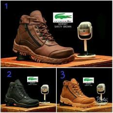 Sepatu Safety Boots Pria Crocodile hitam dan coklat Model Armour delta bertali resleting bickers hiking gunung