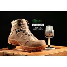 Sepatu safety boots pria Hiking touring crocodille kulit original model almour kualitas terbaik CREM
