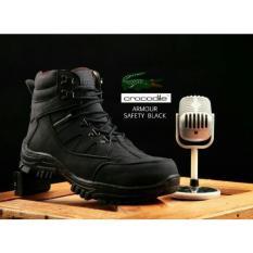 Sepatu safety boots pria Hiking touring crocodille kulit original model almour kualitas terbaik hitam