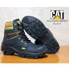 Jual Sepatu Safety Caterpillar Boots Pria Polandia Ujung Besi Black Baru