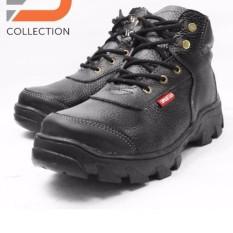 sepatu boots safety pria touring kerja dapur kitchen SPBU model tali 100% kulit sapi asli - Hitam
