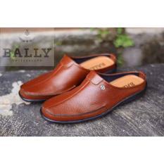 Sepatu Sandal Bally Switzerland Bustong Kulit Asli Slop Pantofel