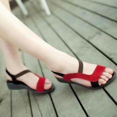 Sepatu Sandal Flat Wanita Model Karet / Sendal Flat Xena - Merah