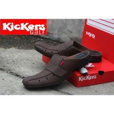 Sepatu Sandal Kickers Bustong Galf Kulit Sintetis Premium - Sepatu Sandal Pantofel Pria Kickers - Sandal Pria Slop