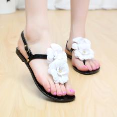 Iklan Sepatu Sandal Jepit Wanita Sol Datar Bunga Kristal Hitam