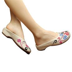 Spesifikasi Sepatu Sandal Wanita Katun Bordir Cina Warna Warna Warni Menarik Awan 36 Internasional