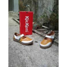 Sepatu Sandal Wanita Kickers Original Leather White-Yellow