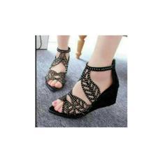 Harga Sepatu Sandal Wanita Model Terbaru Ds Sandal Wedges Laser Terbaru Cla325H Hitam Terkini Fashion Wanita Yang Murah