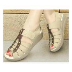 Sepatu Sandal Wanita Wedges Mulan BCN 1200 Cream