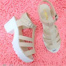 Spesifikasi Sepatu Sandal Wedges Platform Nv03 Krem Bagus