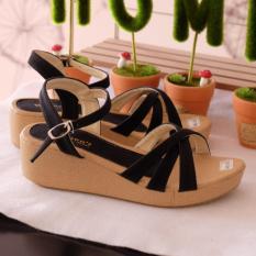 Spesifikasi Sepatu Sandal Wedges Wanita Hitam Dan Harga
