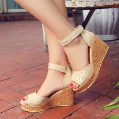 Beli Sepatu Sandal Wedges Wanita Murah Model Terbaru Laser Ls04 Cream Dengan Kartu Kredit