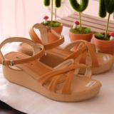 Jual Sepatu Sandal Wedges Wanita N Fa04 Tan Termurah