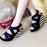 Jual Sepatu Sandal Wedges Wanita Sdw71 Motif Belang Hitam Termurah