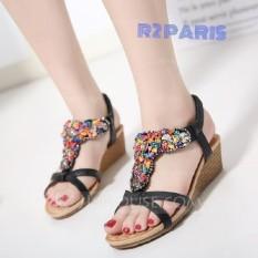 Sepatu Sandal Wedges Wanita Stone Hitam - Veal R2