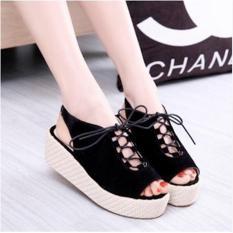 Jual Sepatu Sandal Wedges Wanita Tali Sdw224 Hitam Import