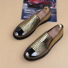 Sepatu Santai Korea Fashion Style Motif Kulit Ular Buaya Pria Bernapas Sepatu Santai (8959 Emas)