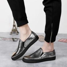 Sepatu Santai Pria Sepatu Sepatu Pemuda Sepatu (2118 Motif Kulit Ular Perak)