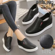 Sepatu Santai Sepatu Wanita Mudah Dipakai Kets Putih Kasual Bertumit Tinggi (62 + Hitam 706 Kupu-Kupu- kain Nelly)